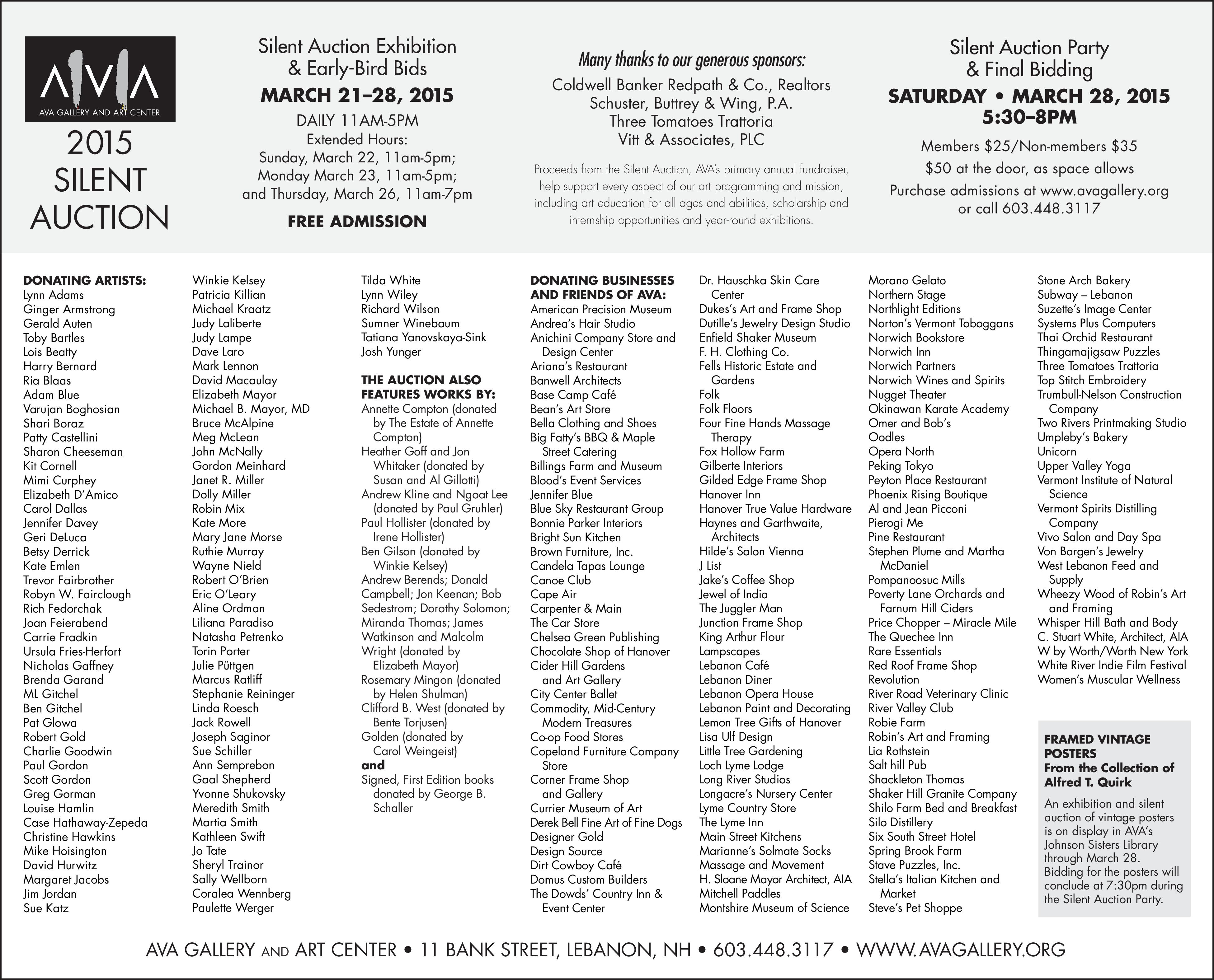 Ava 2015 silent auction sponsors and contributors thank for Silent auction catalog template
