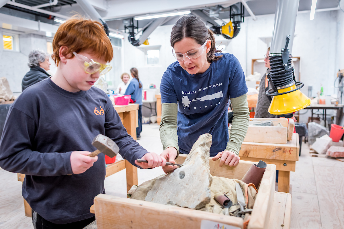 Heather Ritchie's stone carving class
